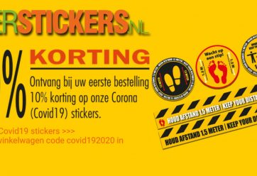 korting covid-19 stickers