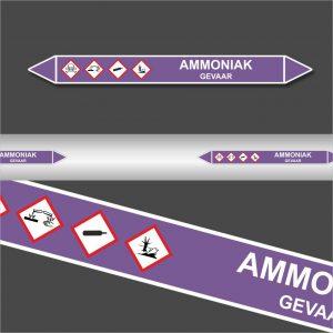 Leidingstickers Leidingmarkering Ammoniak (Basen)