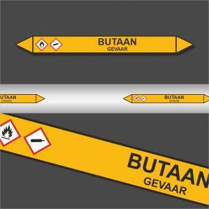 Leidingstickers Leidingmarkering Butaan (Gassen)