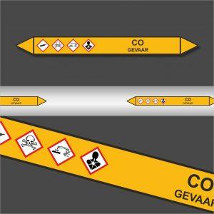 Leidingstickers Leidingmarkering CO (Gassen)