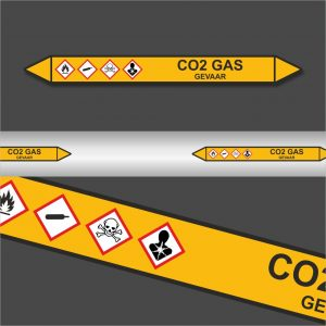 Leidingstickers Leidingmarkering CO2 Gas (Gassen)