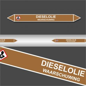 Leidingstickers Leidingmarkering Dieselolie (Ontvlambare vloeistoffen)