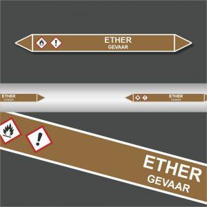 Leidingstickers Leidingmarkering Ether (Ontvlambare vloeistoffen)