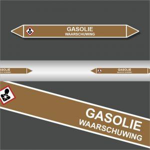 Leidingstickers Leidingmarkering Gasolie (Ontvlambare vloeistoffen)