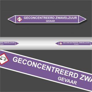 Leidingstickers Leidingmarkering Geconcentreerd Zwavelzuur (Basen)