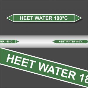 Leidingstickers Leidingmarkering Heet water 180 Graden (Water)