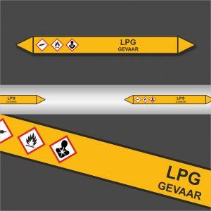 Leidingstickers Leidingmarkering LPG (Gassen)