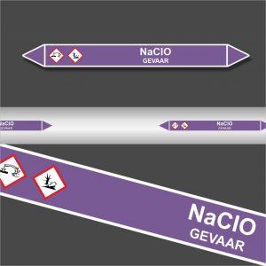 Leidingstickers Leidingmarkering NaClO (Basen)