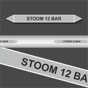 Leidingstickers Leidingmarkering Stoom 12 BAR (Stoom)