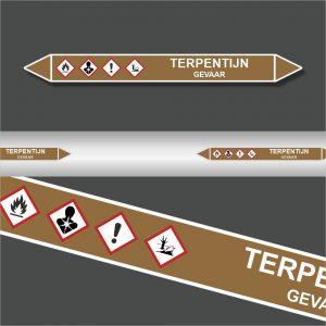 Leidingstickers Leidingmarkering Terpentijn (Ontvlambare vloeistoffen)