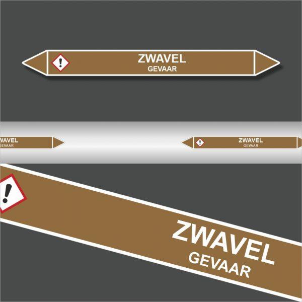 Leidingstickers Leidingmarkering Zwavel (Ontvlambare vloeistoffen)