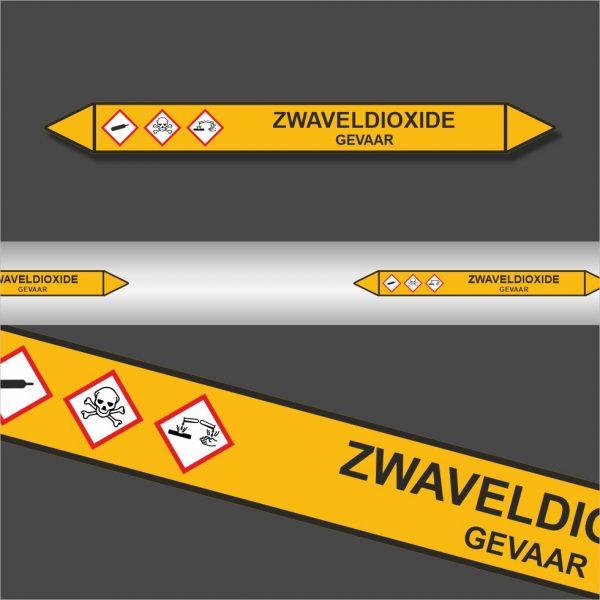 Leidingstickers Leidingmarkering Zwaveldioxide (Gassen)