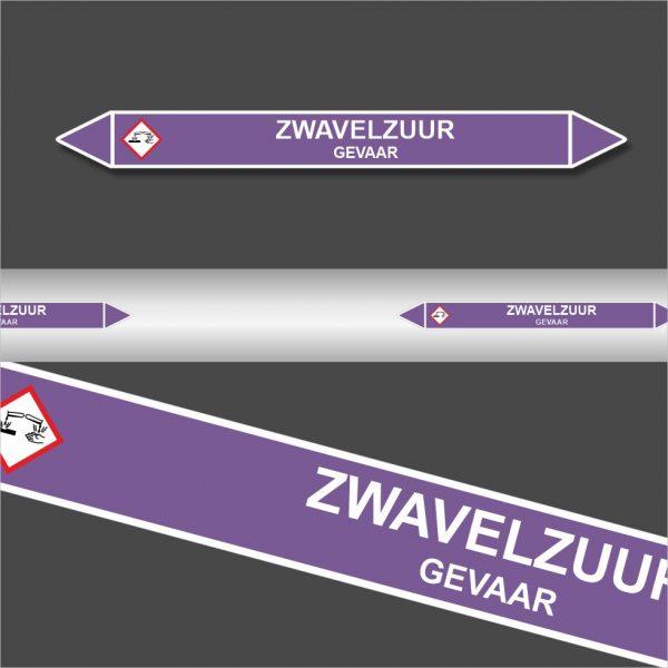 Leidingstickers Leidingmarkering Zwavelzuur (Basen)