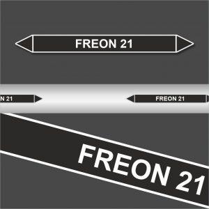 Leiding Markeringen Stickers Freon 21 (Onontvlambare Vloeistoffen)