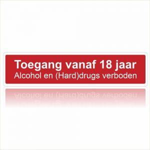 Toegang vanaf 18 jaar drugs verboden
